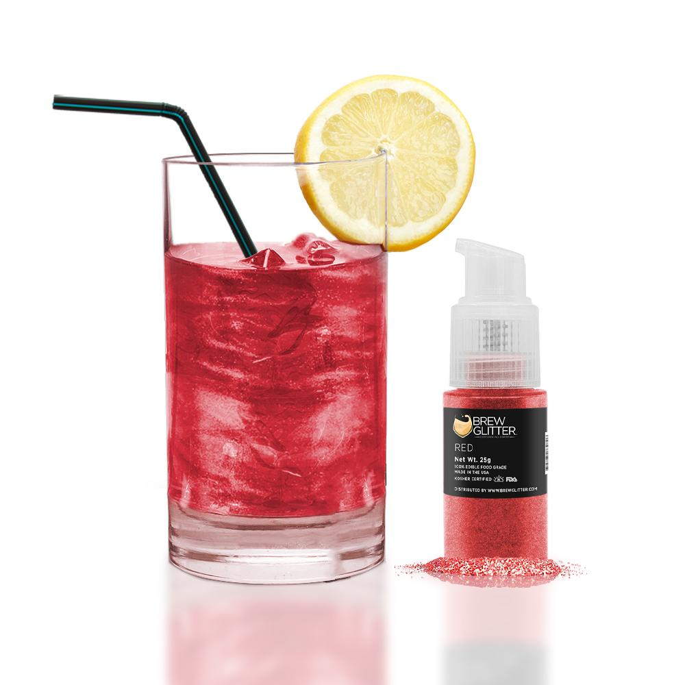 Red Edible Glitter Spray Pump for Drinks