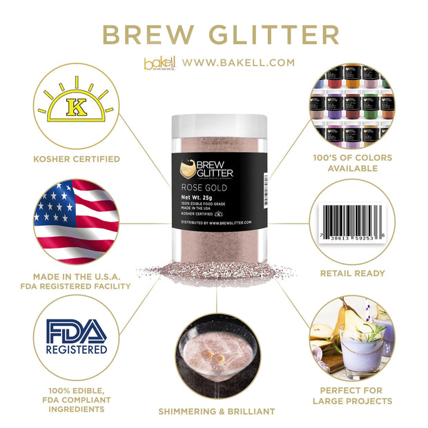 Rose Gold Brew Glitter | Cocktail Beverage Glitter