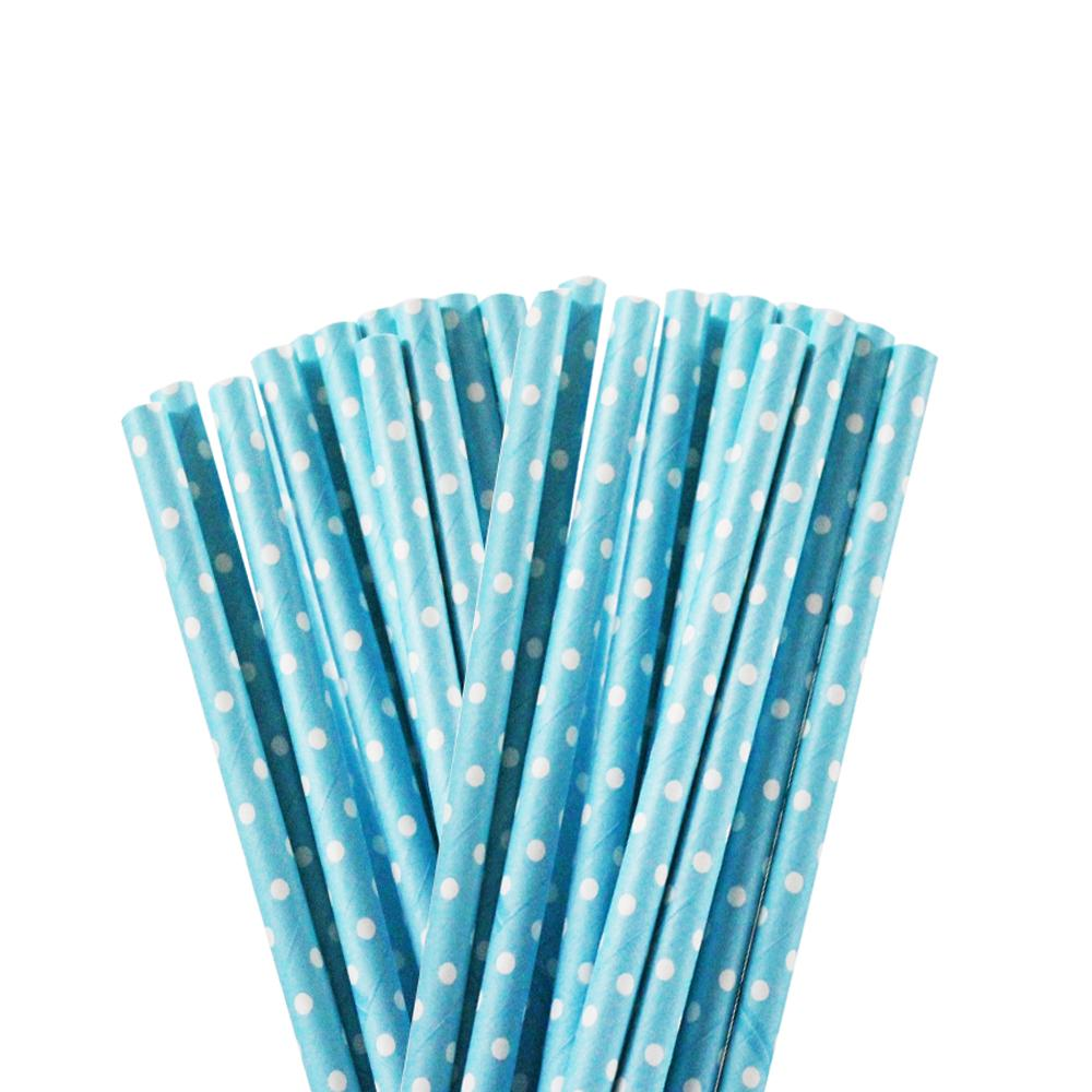 Solid Blue with White Polka Dots Stirring Straws