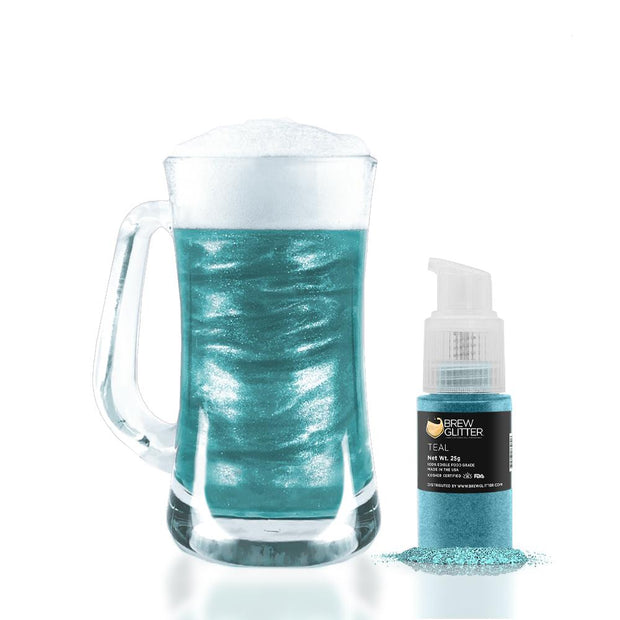 Teal Edible Glitter Spray Pump for Drinks