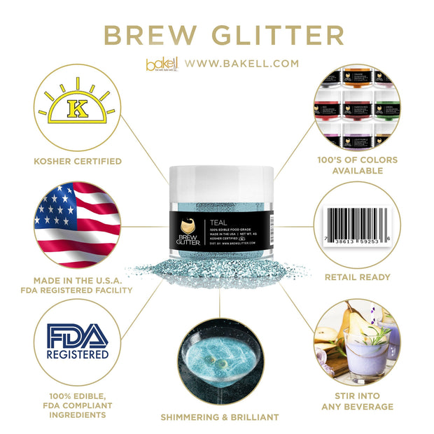 Teal Green Brew Glitter | Food Grade Beverage Glitter