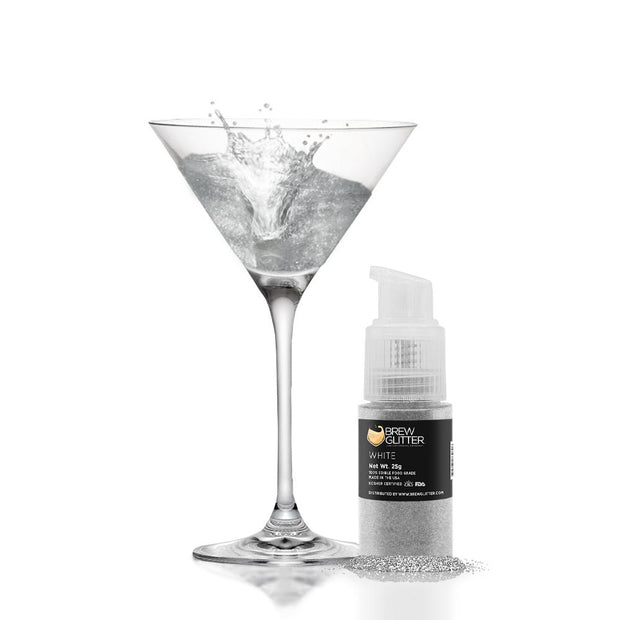 White Edible Glitter Spray Pump for Drinks