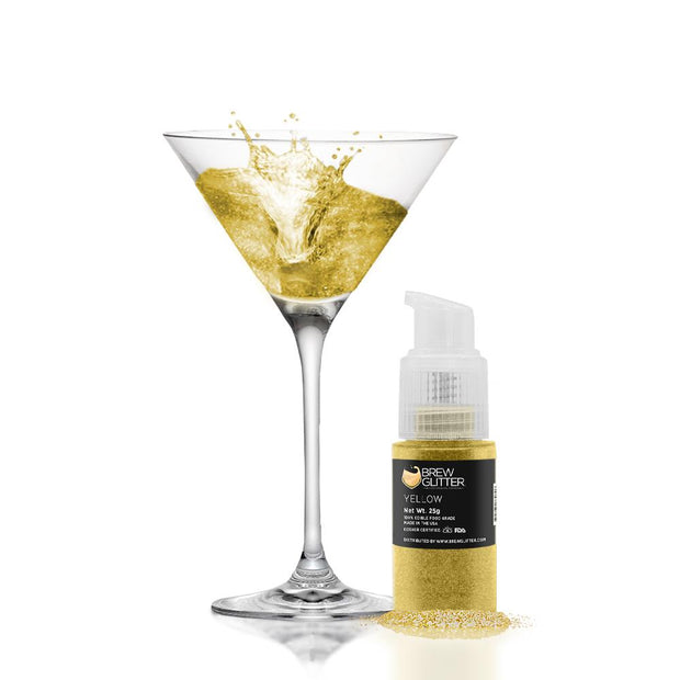 Yellow Edible Glitter Spray Pump for Drinks