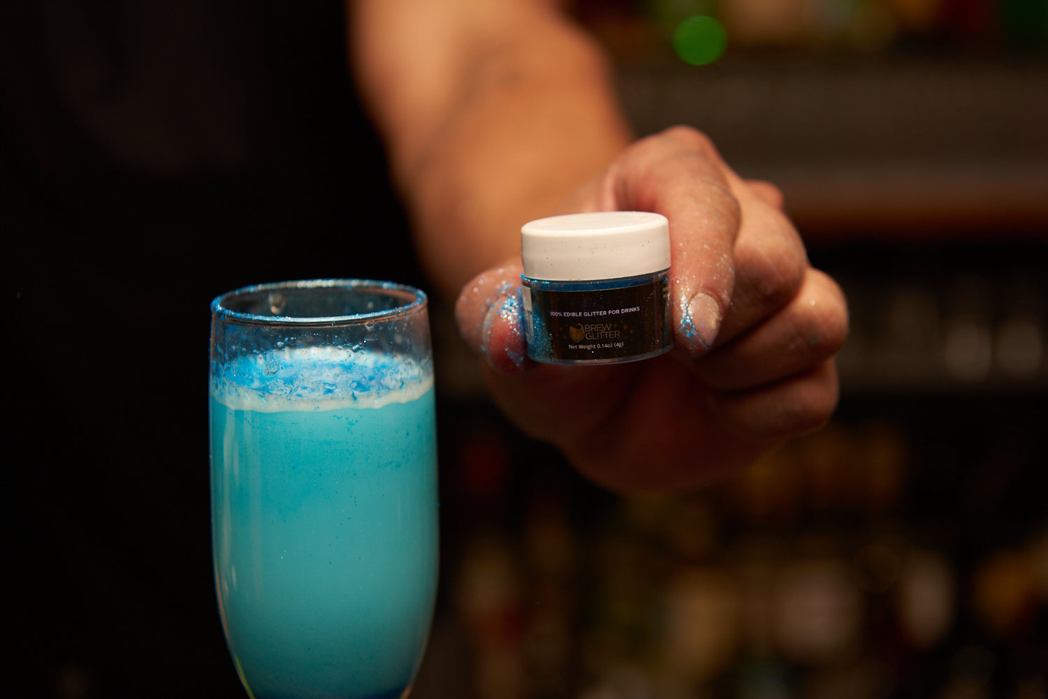 blue glittery cocktail