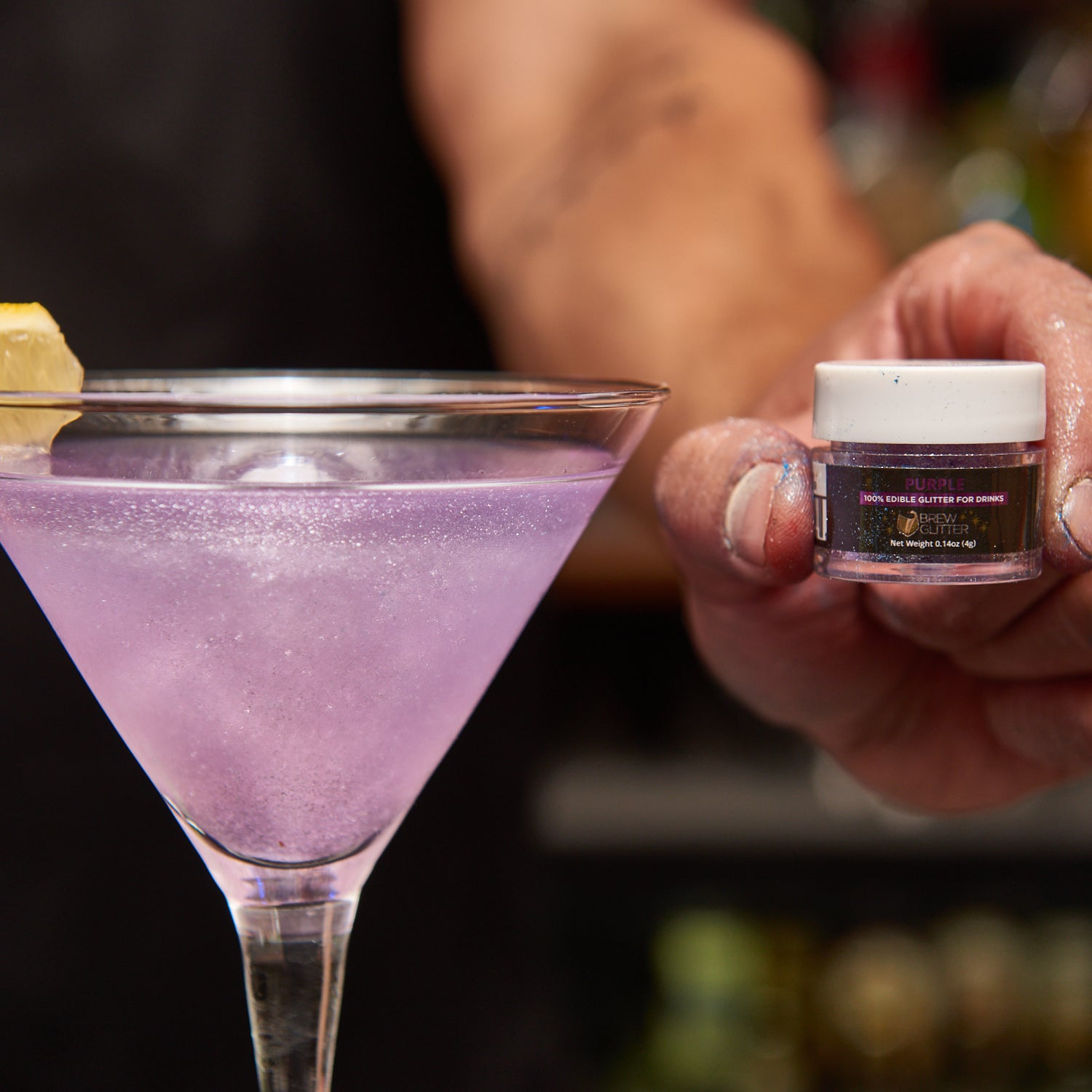 purple glittery cocktail