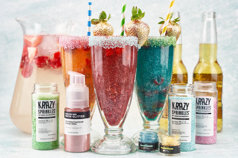 Brew Glitter DIY Beer Berry Punch, edible drink glitter, 100% edible drink glitter, pink drink glitter, blue drink glitter, pink cocktail rimming sugar sand, green cocktail rimming sugar, bulk drink glitter, beer drink with glitter