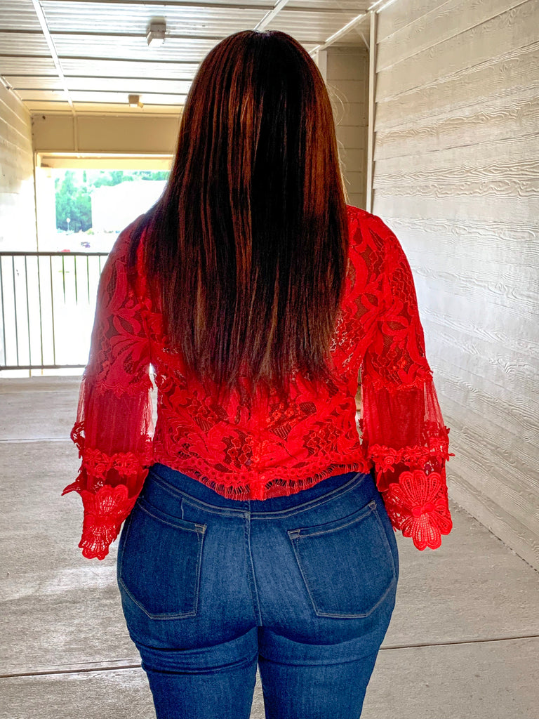 Red Lace Bell Sleeve Top