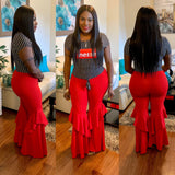 Red Ruffle High Waisted Pants