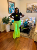 Neon Lime Ruffled Flare Pants