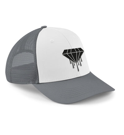 The 6-panel snapback trucker features a semi-curved peak and a 6-panel design, reworked heritage styling makes this vintage-meets-modern trucker the ultimate all season cap. Grey and white with the Bloody Luxury diamond logo.  Fabric 100% Cotton front panel and peak. 100% Polyester mesh rear panels  Weight 66g Size One size