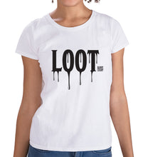 Load image into Gallery viewer, Bloody Luxury t-shirt in white with contrast Loot design.