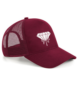 Bloody Luxury suede snapback trucker in burgundy and spotlights a luxurious suede finish.