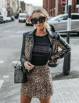 Suit Leather Jacket Leopard Skirt Sheath Buttons, Suit, LE STYLE DE PARIS, LE STYLE DE PARIS