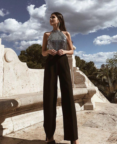 Elegant Woman Suit Palazzo Pants, suit, LE STYLE DE PARIS, LE STYLE DE PARIS