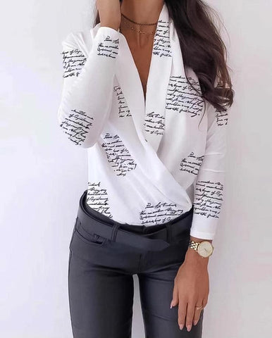 Body Woman V-neck Print Long Sleeve, Body, Le_style_de_paris, LE STYLE DE PARIS