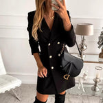 Woman Dress Blazer Buttons V-neck, Blazer, Le_style_de_paris, LE STYLE DE PARIS