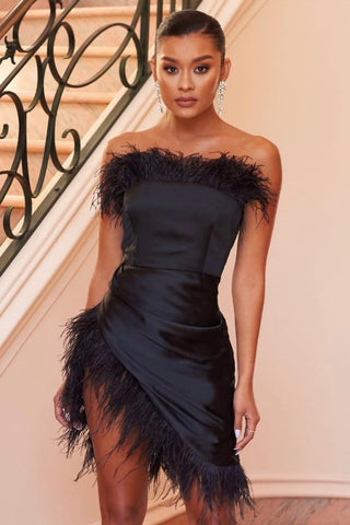 Woman Dress Asymmetrical Band Feathers, Elegant evening dress, LE STYLE DE PARIS, LE STYLE DE PARIS