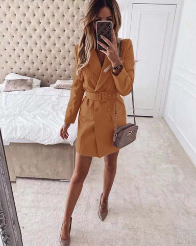 Women Dress Blazer Belt Long Sleeve Double Breasted Casual Elegant, Blazer, LE STYLE DE PARIS, LE STYLE DE PARIS