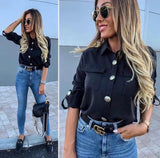 Shirt Woman Buttons Long Sleeve Pockets Casual Elegant, Shirt, LE STYLE DE PARIS, LE STYLE DE PARIS