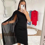 Woman Dress One Shoulder Chiffon Cape, Dress, LE STYLE DE PARIS, LE STYLE DE PARIS