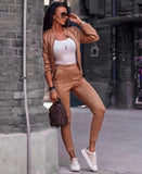 Full Jacket Sweatshirt Zip Pants Cigarette Adherent Suede, Anzugjacke und Hose, LE STYLE DE PARIS, LE STYLE DE PARIS