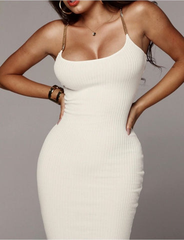 Woman Dress Bodycon Dress Ribbed Sheath Chain Gold Cotton Casual Sexy, Dress, LE STYLE DE PARIS, LE STYLE DE PARIS