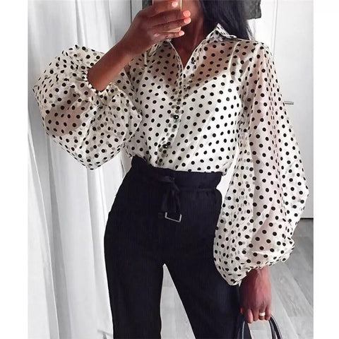 Woman Shirt Polka Dot Sleeve Puff Balloon Casual Elegant Vintage, Shirt, LE STYLE DE PARIS, LE STYLE DE PARIS