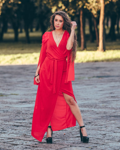 Woman Dress Long Dress Long Sleeve V-neck Slit Elegant, Long dress, LE STYLE DE PARIS, LE STYLE DE PARIS