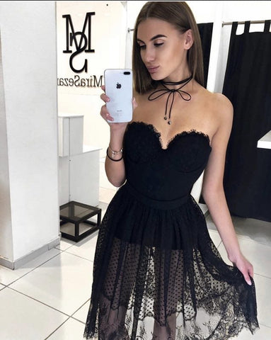 Woman Dress Soft Tulle Neckline Elegant Heart Party Events Party, Dress, LE STYLE DE PARIS, LE STYLE DE PARIS