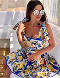 Dress Woman Fantasy Bow Suspenders Flared Soft Positano Casual Vintage, Dress, LE STYLE DE PARIS, LE STYLE DE PARIS