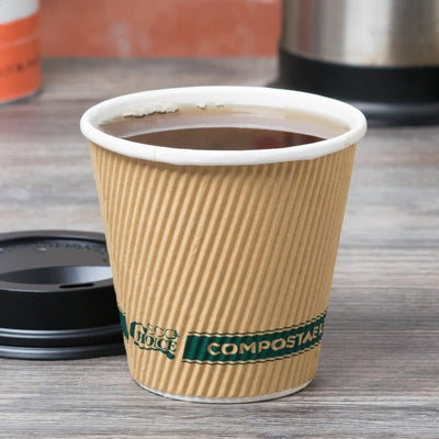 10 oz Hot Cups Kraft Sleeveless Compostable and Recyclable (500 per case)