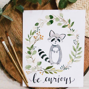 Be Curious Raccoon Print