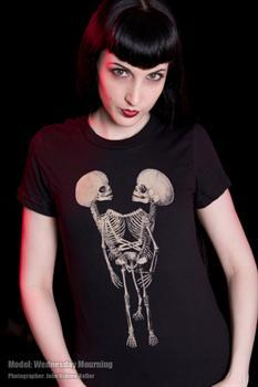 3 LEGGED CONJOINED TWINS FETAL SKELETON - girl fitted shirt