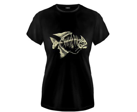 RED BELLY PIRANHA SKELETON - girl fitted shirt