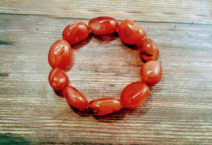 Women's Carnelian Agate Tumbled Stretch Bracelet Large stones