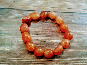 Women's Carnelian Agate Tumbled Stretch Bracelet