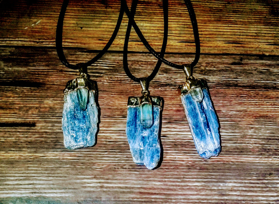 Gold Plated Raw Kyanite Blade with Crystal Quartz Necklace