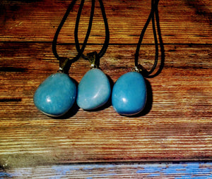 Large  Angelite (CELESTITE) Tumbled Stone Necklace