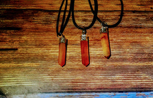PENCIL POINT SILVER PLATED CARNELIAN NECKLACE (Petite)