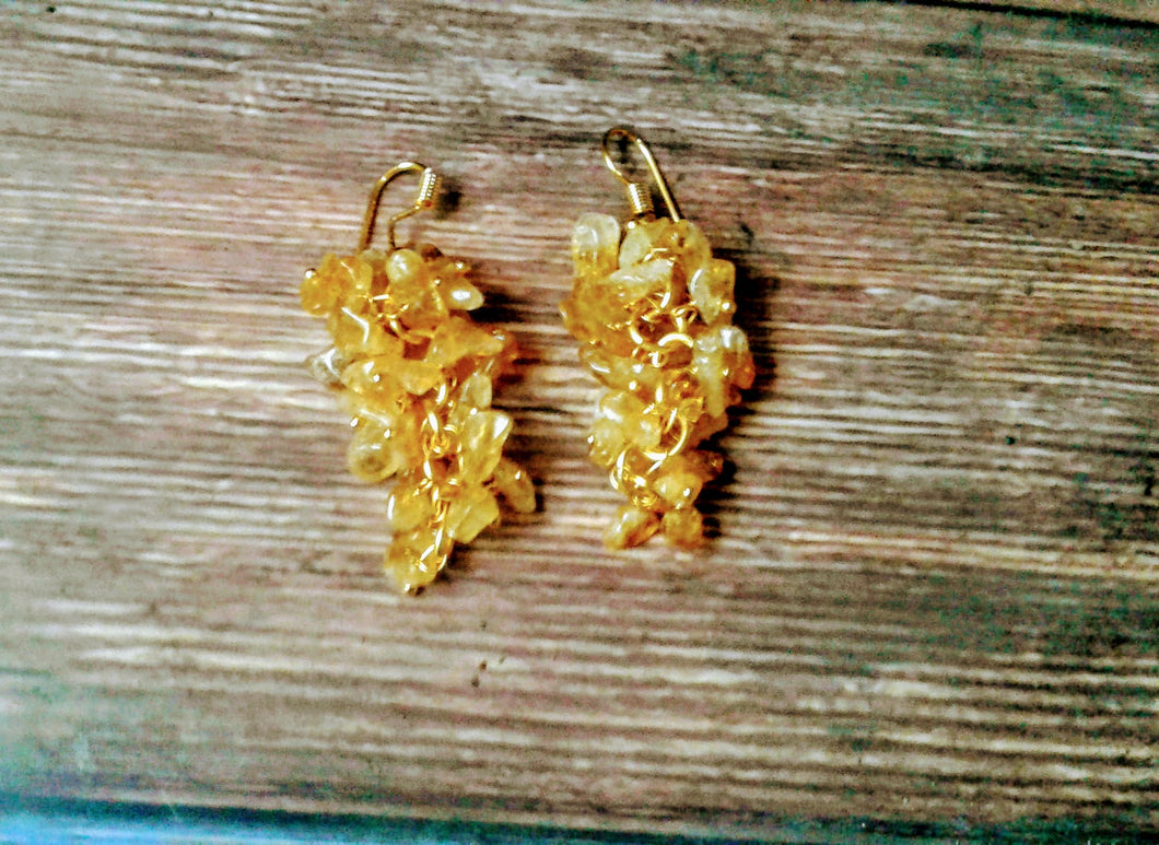 Citrine Cluster Style Gold Plated Earrings