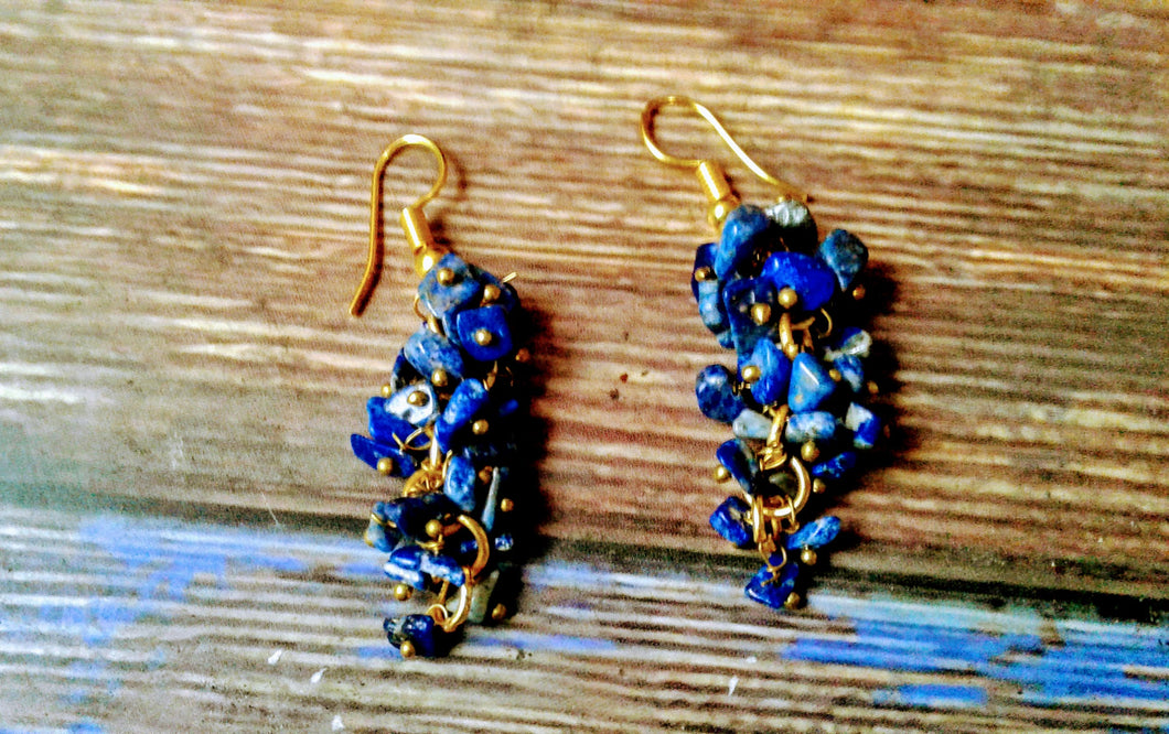 Lapis Lazuli Cluster Style Gold Plated Earrings