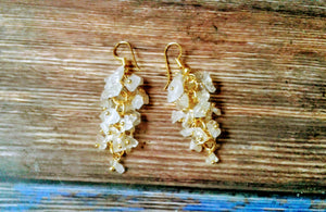 Rose Quartz Cluster Style Gold Plated Earrings