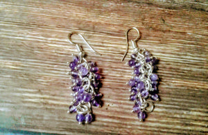 Amethyst Cluster Silver Plated Earrings
