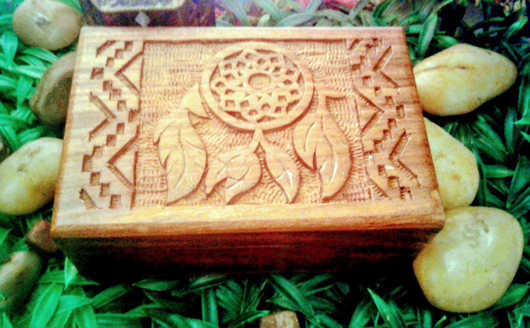 Dream Catcher Carved Wooden Box  4x6