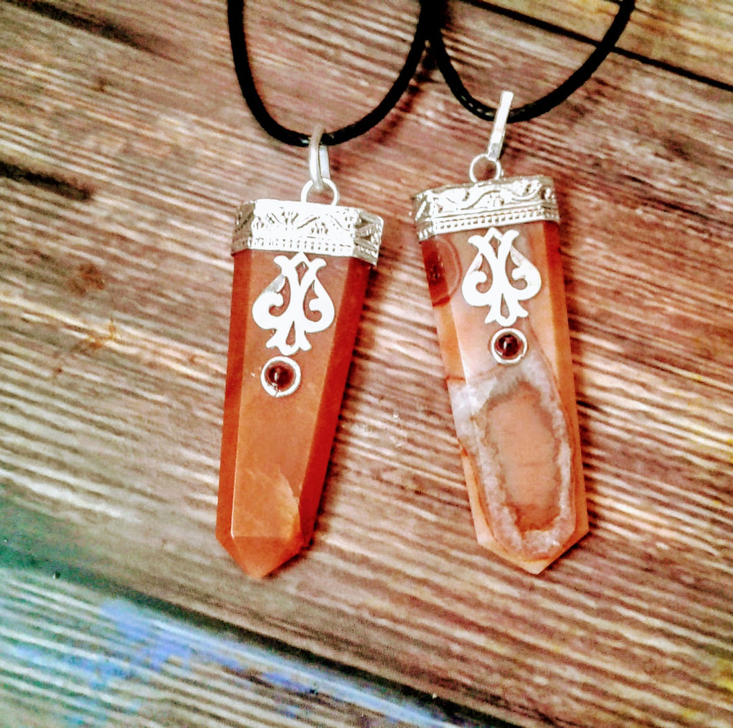 Carnelian Flat Silver Plated Necklace