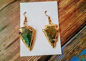 Bloodstone Arrow Shaped Gold Plated Earrings