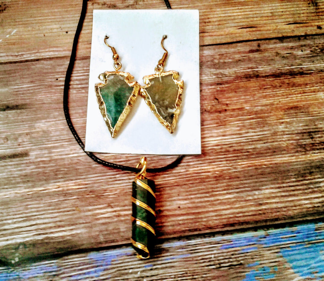 Bloodstone Gold Plated Necklace with Earring Set
