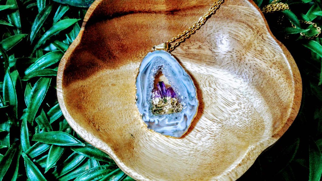 Gold Plated Geode Slice with Amethyst