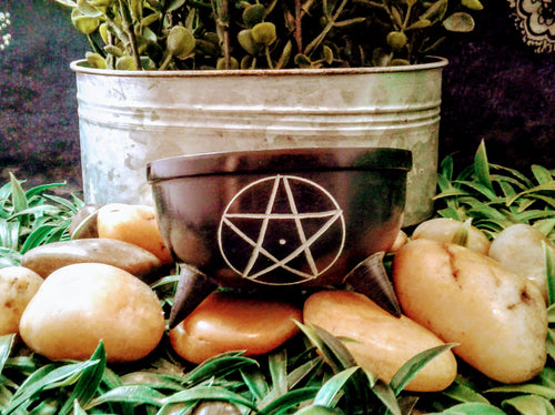 Black Soapstone Smudge Pot (Pentacle) Multi-use