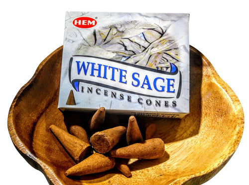 HEM White Sage Incense Cones from India